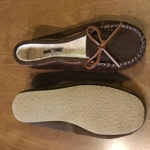 Womens Brown Moccasins Calley Leather Slippers 8